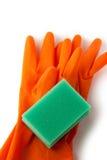 Gloves and bath sponge Stock Photo