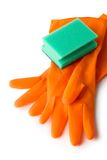 Gloves and bath sponge Royalty Free Stock Images
