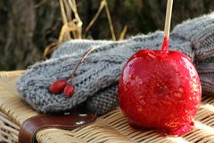 Gloves and candy apple Royalty Free Stock Image