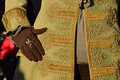 Gloves and Carnival of Venice. A detail of the Carnival costume, the gloves, in brown to fit the rest of the costume with a ring on a finger Stock Image