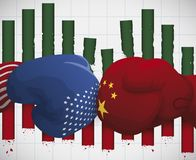 Eroded Statistics Bars due Trade War between China and U.S.A., Vector Illustration. Gloves clashing and eroded statistics bars depicting the side effects of royalty free illustration