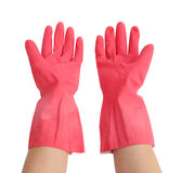 Gloves for cleaning with hand on white background Royalty Free Stock Images