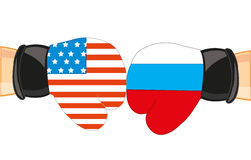 Gloves in colour flag to russia and usa Royalty Free Stock Photography