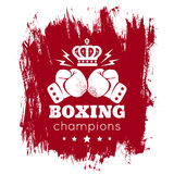 Gloves and crown. Vintage logo for boxing with gloves and crown Stock Photos