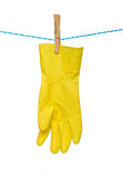 Gloves drying on rope Royalty Free Stock Photo