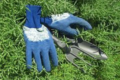 Gloves and Garden Shovel and rake Stock Image