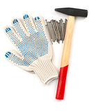 Gloves with hammer Stock Images