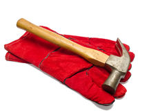 Gloves and hammer Stock Photos