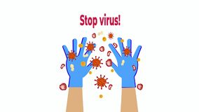 Gloves on hands protection against the virus