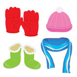 Gloves Hat Boots Scarf Cartoon Vector Stock Photo