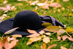 Gloves and hat in the leafs in the park. Autumn season Royalty Free Stock Photography