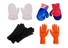 Gloves icon set, realistic style stock illustration