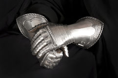Gloves knight. Hand protection medieval knight. Element protective armor Royalty Free Stock Photo