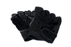 Gloves leather black rough used on white isolated background Stock Photography