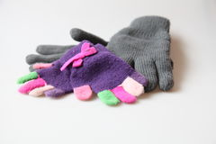 Gloves. For little girls made by wool with the fingers in different colors with simple wool stock photography