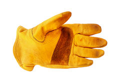 Gloves. Old grunge rustic yellow gloves isolated on white background Royalty Free Stock Photos