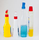 Gloves, rag, sponge and cleaning sprayers. On light bakcground stock images