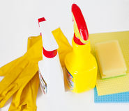 Gloves, rag, sponge and cleaning sprayers Stock Photo