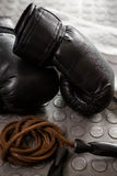 Gloves and rope Royalty Free Stock Photography