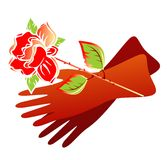 Gloves and rose Stock Images