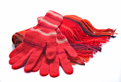 Gloves and a scarf. Red gloves and a scarf on a white background Stock Images