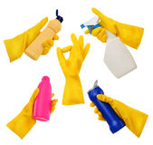 Gloves set. Beautiful Set of a Rubber Gloves. Cleaning Concept stock photo