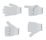 Gloves set2. Different positions of fingers of gloves on a white background Stock Photography