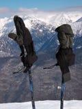Gloves on ski poles Stock Photography