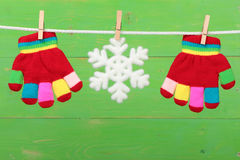 Gloves with snowflake royalty free stock photos