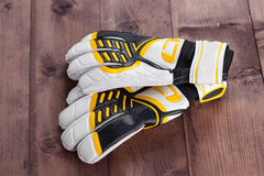 Gloves of the soccer goalkeeper Stock Photography