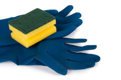 Gloves and Sponge for Cleaning Stock Images