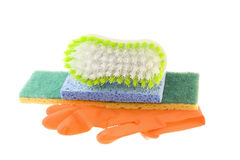 Gloves sponges and cleaning brush Royalty Free Stock Photos