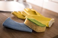 Gloves for washing dishes Royalty Free Stock Photos