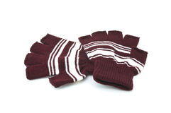 Gloves for woman. Brown and white gloves for woman on a white background Royalty Free Stock Images