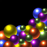 Glow Balls. Glowing balls are featured in an abstract background illustration Stock Images