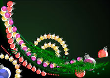 Glow Balls Green Christmas Background. Royalty Free Stock Photo