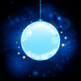 Glow blue bauble background. Christmas background with bauble on a glowing blue background Royalty Free Stock Photos