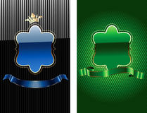 Glow Blue And Green Royal Ornate Banner. stock illustration