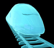 Glow blue high-speed train. On black background. 3d illustration Stock Images