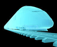 Glow blue high-speed train. On black background. 3d illustration Royalty Free Stock Images