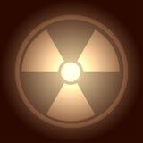 Glow button with radiation symbol Royalty Free Stock Photos