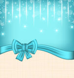 Glow celebration card with gift bow Royalty Free Stock Photo