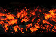 Glow charcoal.Destroying fire. Royalty Free Stock Photos