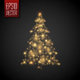 Glow Christmas Tree with lights and sparkles  , vector Stock Photography