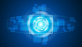 Glow circles and blue rectangles Royalty Free Stock Photo