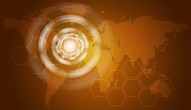 Glow circles, hexagons and world map Royalty Free Stock Image
