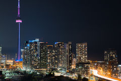Glow from the city of Toronto and the Gardiner Expressway. Stock Photography