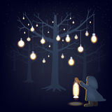 Glow in the darkness cartoon illustration. (Vector eps10 Stock Photography