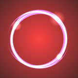 Glow effect eclipse circle vector. Neon light rings on dark red gradient background. Abstract round object Royalty Free Stock Photography