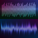 Glow effect music equalizer dark background set. Sound waves vector abstract - graphic equalizer vector background for different joyful events. Illustration eps Stock Photo